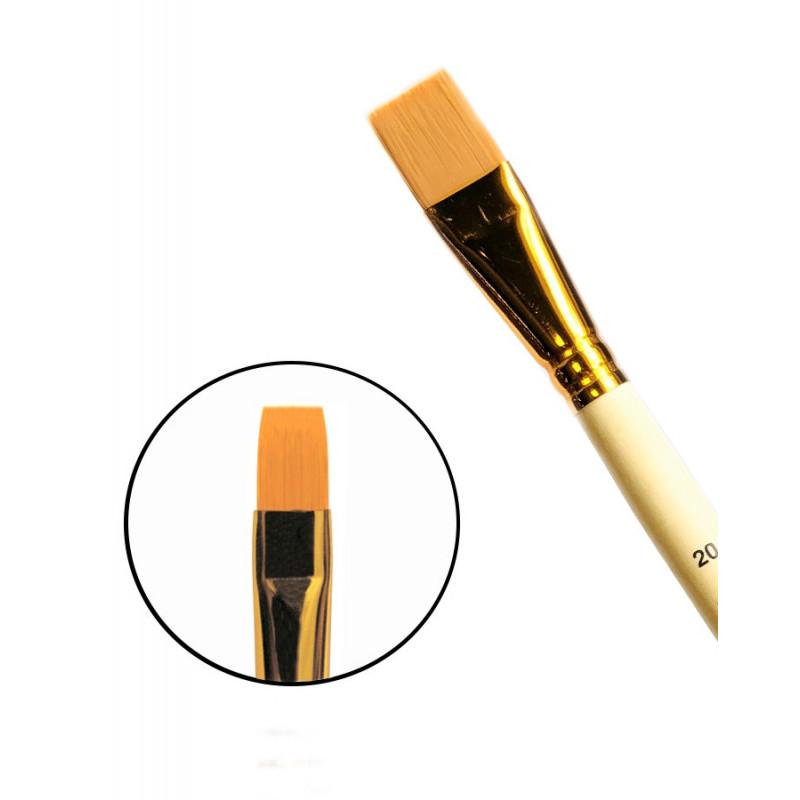 Купить Кисть синтетика №20 плоская Черная речка 1322 длинная ручка п/лак, Россия
