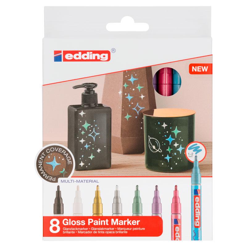 Купить Набор маркеров декоративных, лаковых Edding 8 шт, 1-2 мм Металлик, Германия