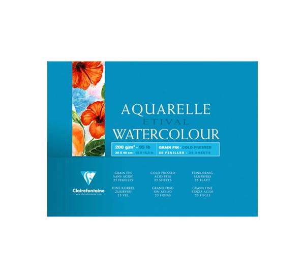 Купить Альбом-склейка для акварели Clairefontaine Etival Fin 12х18 см 25 л 200 г 100% целлюлоза, Франция