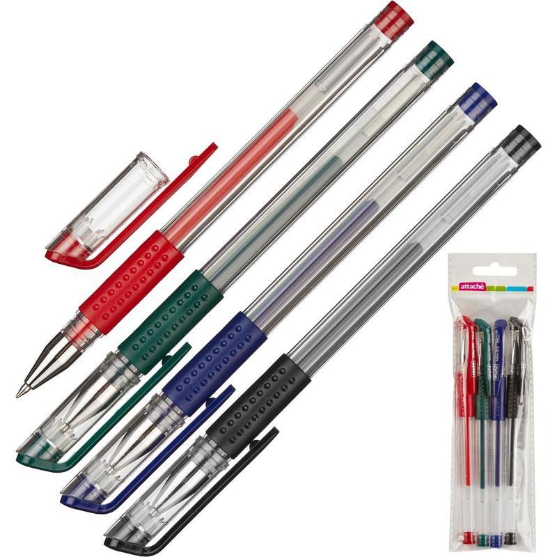 Набор гелевых ручек Attache Gelios-010 4 цвета (толщина линии 05 мм).