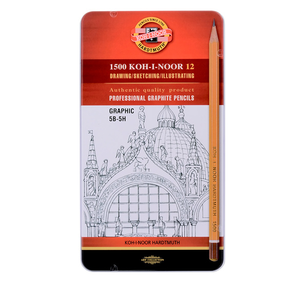 Купить Набор карандашей чернографитных Koh-I-Noor Graphic 12 шт (5В-5Н) в металл коробке, KOH–I–NOOR, Чехия