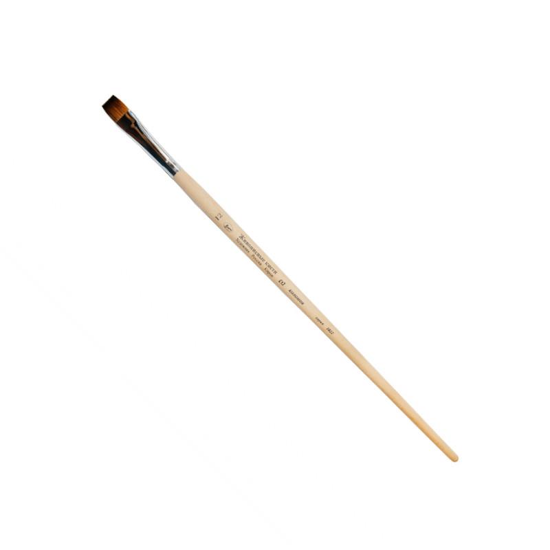 Купить Кисть колонок №8 плоская Живописные кисти 1029 длинная ручка с черным кончиком, Россия