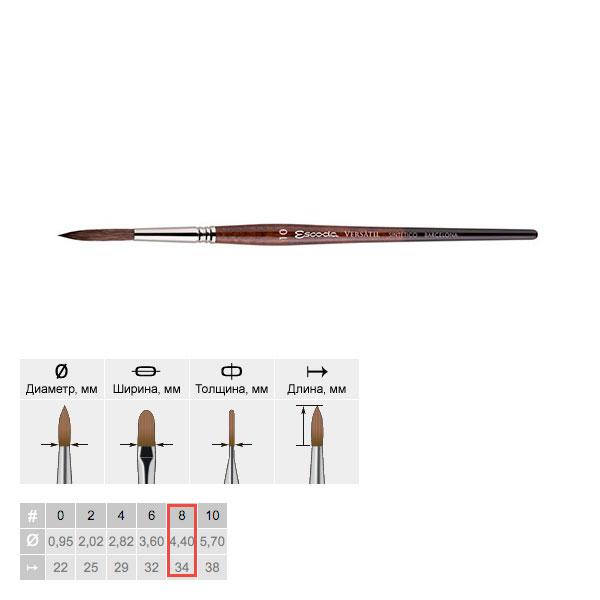Купить Кисть синтетика №8 круглая Escoda Versatil 1549 короткая ручка коричневая, Испания