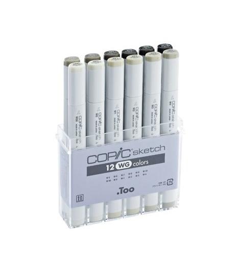 Купить Набор маркеров Copic Sketch WG 12 цв, Copic Too (Izumiya Co Inc), Япония