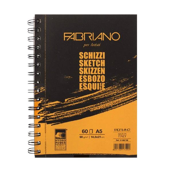 Блокнот для эскизов на спирали Fabriano Schizzi А5 60 л 90 г. по длин. стор..