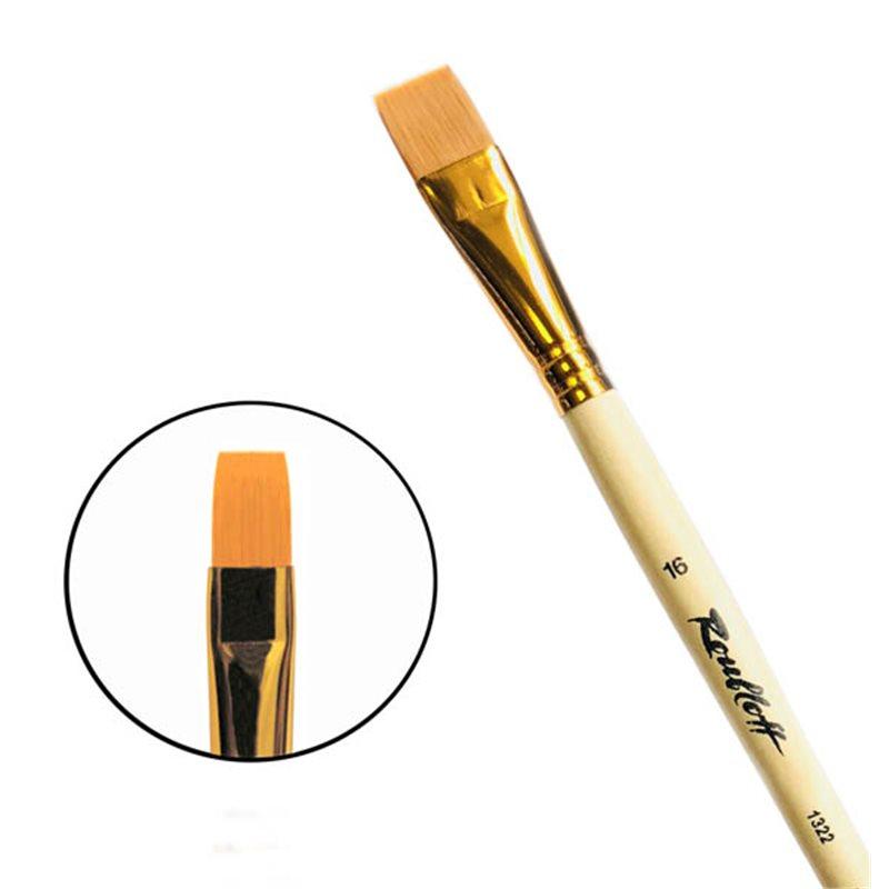 Купить Кисть синтетика №16 плоская Roubloff 1322 длинная ручка п/лак, Россия