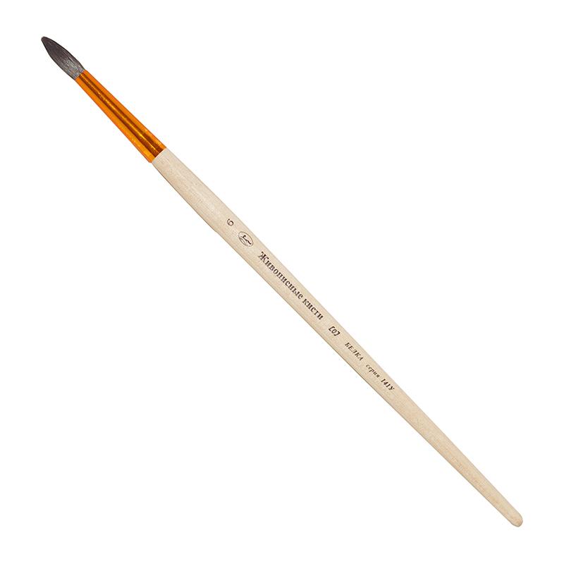 Купить Кисть белка №6 круглая Живописные кисти 141У короткая ручка, Россия