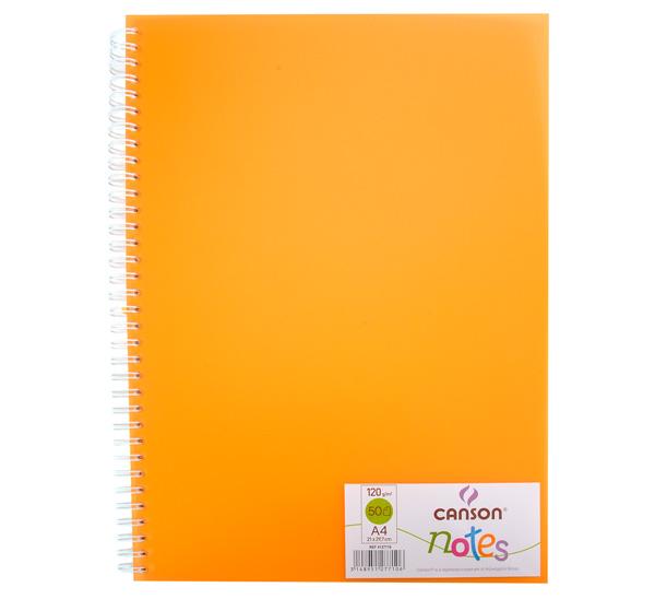 Купить Блокнот для графики на спирали Canson Notes А4 50 л 120 г, обложка пластик. оранжевая, Франция
