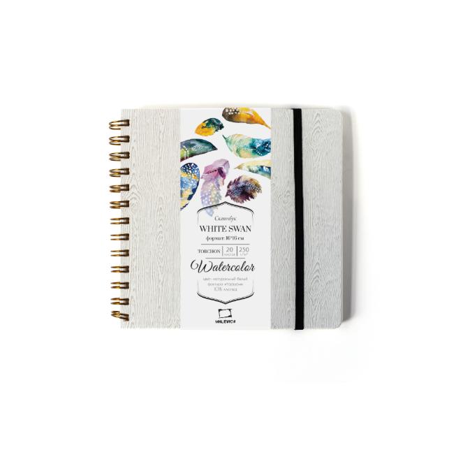 Купить Скетчбук для акварели Малевичъ White Swan Torchon 16х16 см 20 л 250 г, серый, Китай
