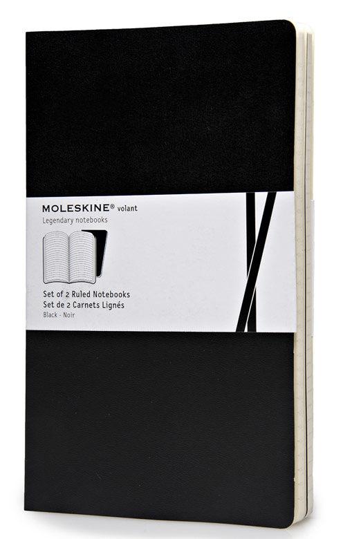 Записная книжка в линейку Moleskine Volant Large 130х210 мм 96 стр мягкая обложка черная (2шт).