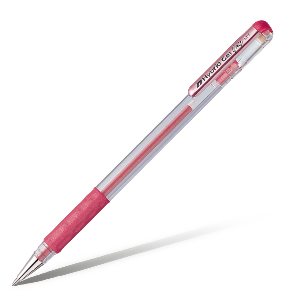 Ручка гелевая Pentel Hybrid gel Grip 08 мм стержень красный.