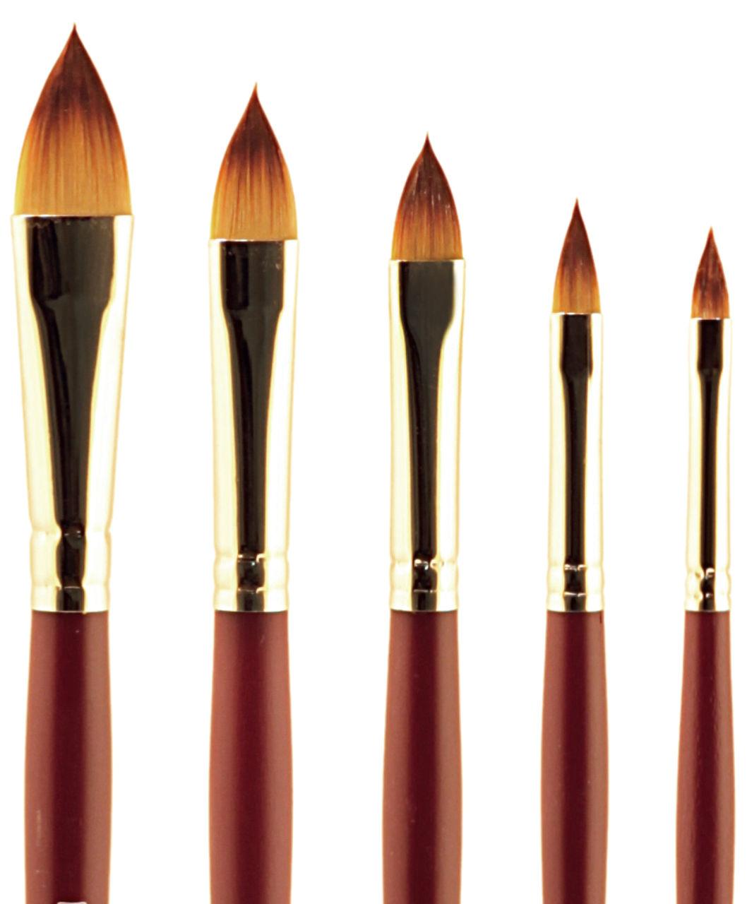 Купить Кисть синтетика №16 кошачий язык Альбатрос Студио длинная ручка, Россия