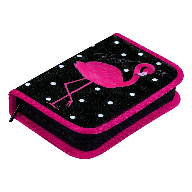 Купить Пенал 1 отделение Berlingo Pink flamingo 200*140*40 мм, ПВХ с блестками, Россия