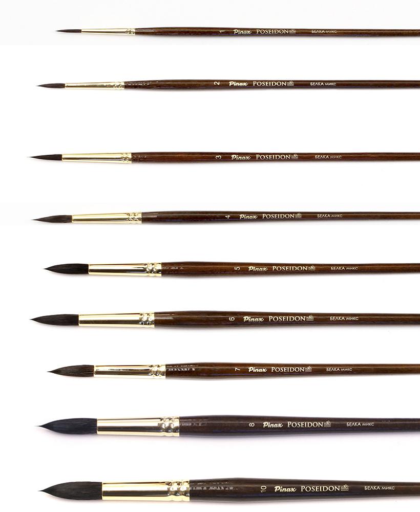 Купить Кисть белка микс круглая Pinax Poseidon 801 длинная ручка, Китай