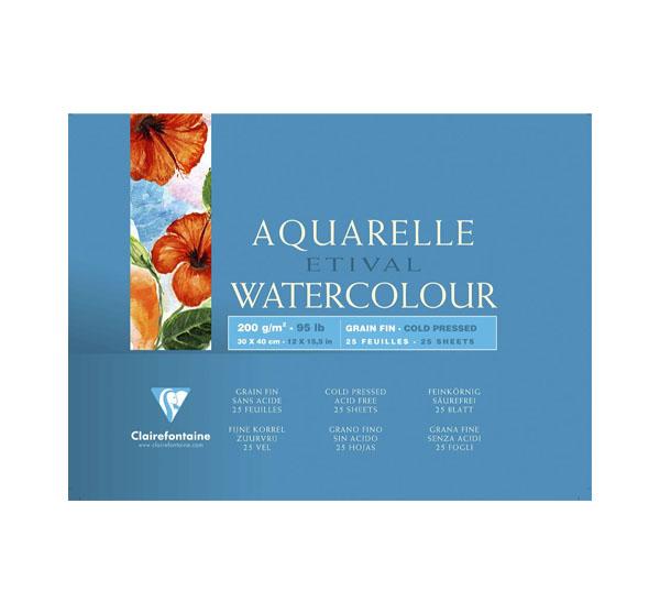 Купить Альбом-склейка для акварели Clairefontaine Etival Fin 30х40 см 25 л 200 г 100% целлюлоза, Франция
