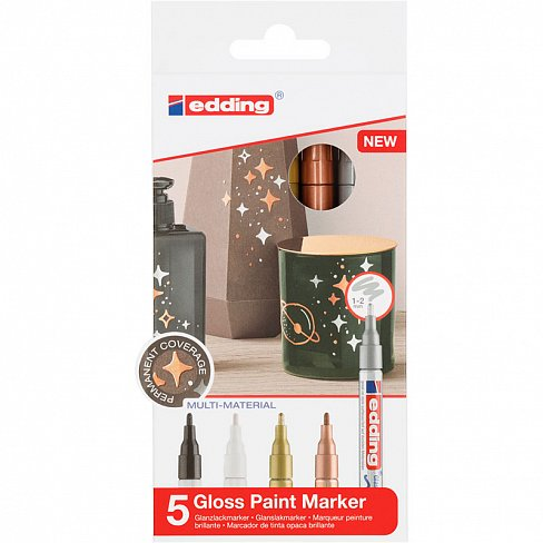 Купить Набор маркеров декоративных, лаковых Edding 5 шт, 1-2 мм Металлик, Германия