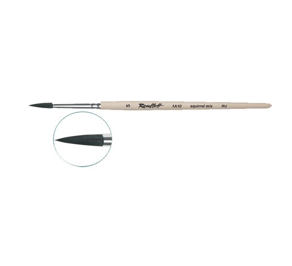 Купить Кисть белка микс №12 круглая Roubloff 1А10 короткая ручка п/лак, Россия