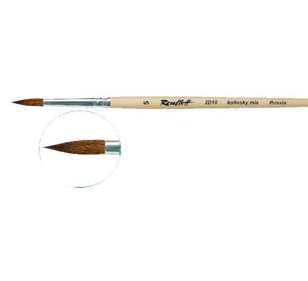 Купить Кисть колонок микс №1 круглая Roubloff 2D10 короткая ручка п/лак, Россия