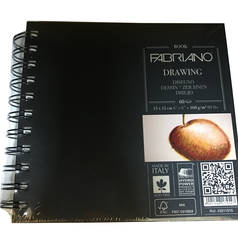 "Блокнот для эскизов на спирали Fabriano ""Drawing Book""15x15 см 60 л 160 г твердая обложка"