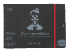 Скетчбук Smiltainis Black #authenticbook (черный) с резинкой 24,5x17.6 см 18 л 165 г