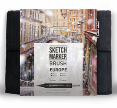 Набор маркеров Sketchmarker Brush 36 Europa Set- Европа (36 маркеров+сумка органайзер)