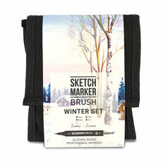 Набор маркеров Sketchmarker Brush 12 Winter Set- Зима (12 маркеров+сумка органайзер)