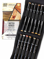 Набор маркеров Sketchmarker Brush 12 Wood Set- Оттенки дерева (12 маркеров+сумка органайзер)